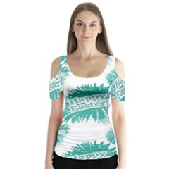 Happy Easter Theme Graphic Print Butterfly Sleeve Cutout Tee  by dflcprintsclothing