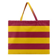 Oswald s Stripes Red Yellow Zipper Large Tote Bag by Mariart