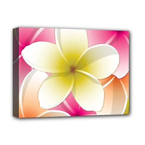 Frangipani Flower Floral White Pink Yellow Deluxe Canvas 16  X 12   by Mariart