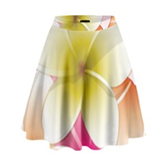 Frangipani Flower Floral White Pink Yellow High Waist Skirt by Mariart