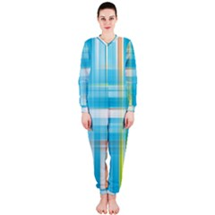 Lines Blue Stripes Onepiece Jumpsuit (ladies)  by Mariart