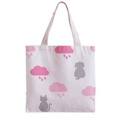 Raining Cats Dogs White Pink Cloud Rain Grocery Tote Bag by Mariart