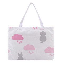 Raining Cats Dogs White Pink Cloud Rain Medium Tote Bag by Mariart
