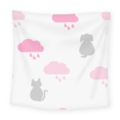 Raining Cats Dogs White Pink Cloud Rain Square Tapestry (large) by Mariart