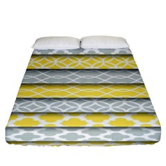 Paper Yellow Grey Digital Fitted Sheet (king Size) by Mariart