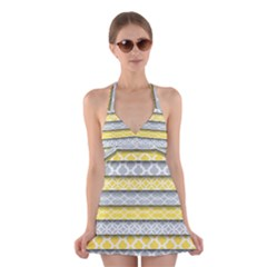 Paper Yellow Grey Digital Halter Swimsuit Dress by Mariart
