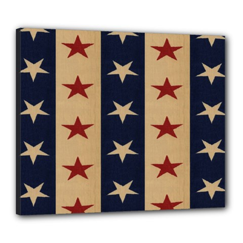 Stars Stripes Grey Blue Canvas 24  X 20  by Mariart