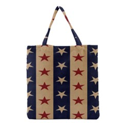 Stars Stripes Grey Blue Grocery Tote Bag by Mariart