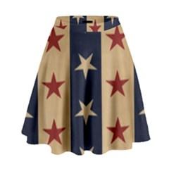 Stars Stripes Grey Blue High Waist Skirt by Mariart