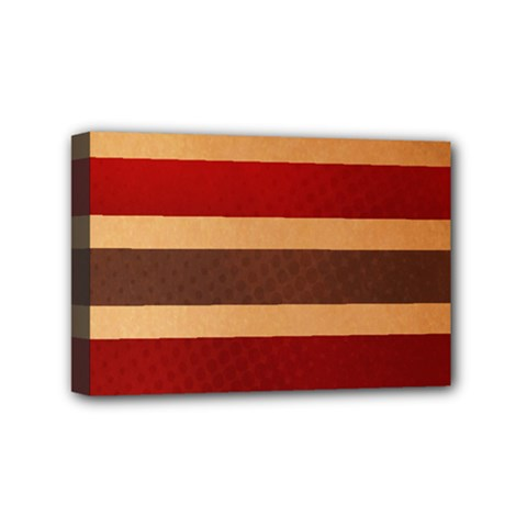 Vintage Striped Polka Dot Red Brown Mini Canvas 6  X 4  by Mariart