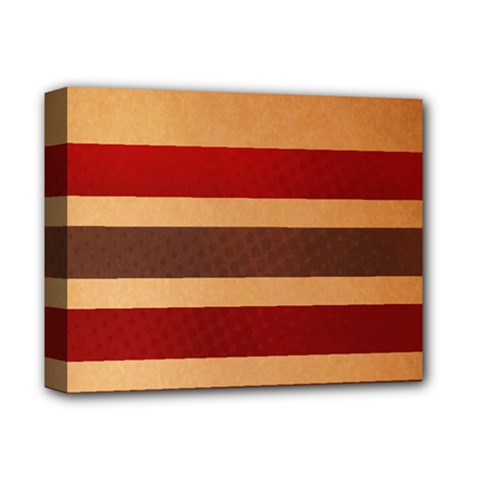 Vintage Striped Polka Dot Red Brown Deluxe Canvas 14  X 11  by Mariart