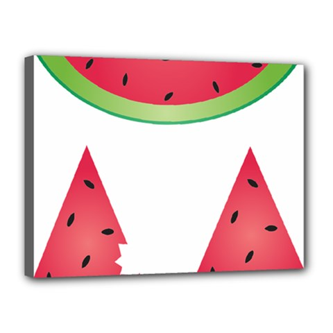 Watermelon Slice Red Green Fruite Canvas 16  X 12  by Mariart