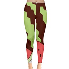 Watermelon Slice Red Green Fruite Circle Leggings  by Mariart