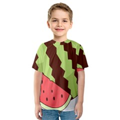 Watermelon Slice Red Green Fruite Circle Kids  Sport Mesh Tee by Mariart