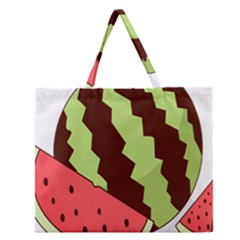 Watermelon Slice Red Green Fruite Circle Zipper Large Tote Bag by Mariart