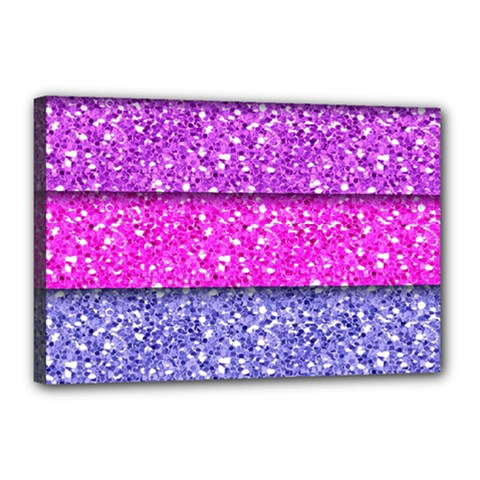 Violet Girly Glitter Pink Blue Canvas 18  X 12  by Mariart
