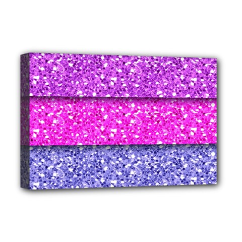 Violet Girly Glitter Pink Blue Deluxe Canvas 18  X 12   by Mariart