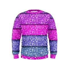 Violet Girly Glitter Pink Blue Kids  Sweatshirt by Mariart