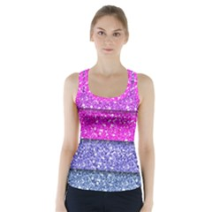 Violet Girly Glitter Pink Blue Racer Back Sports Top by Mariart