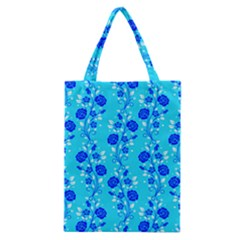 Vertical Floral Rose Flower Blue Classic Tote Bag by Mariart