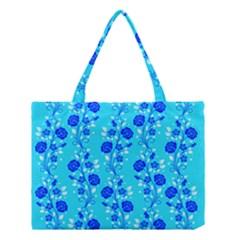 Vertical Floral Rose Flower Blue Medium Tote Bag by Mariart