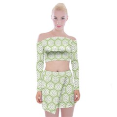 Wood Star Green Circle Off Shoulder Top With Skirt Set