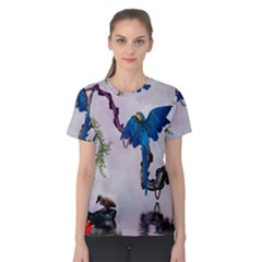 Wonderful Blue Parrot In A Fantasy World Women s Cotton Tee by FantasyWorld7