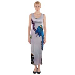 Wonderful Blue Parrot In A Fantasy World Fitted Maxi Dress by FantasyWorld7