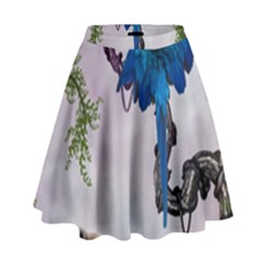Wonderful Blue Parrot In A Fantasy World High Waist Skirt by FantasyWorld7