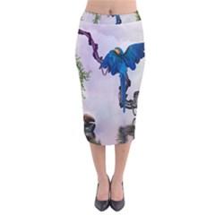 Wonderful Blue Parrot In A Fantasy World Velvet Midi Pencil Skirt by FantasyWorld7