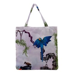 Wonderful Blue Parrot In A Fantasy World Grocery Tote Bag by FantasyWorld7