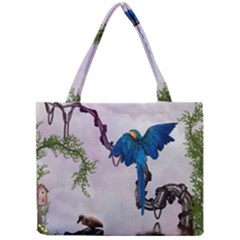 Wonderful Blue Parrot In A Fantasy World Mini Tote Bag by FantasyWorld7