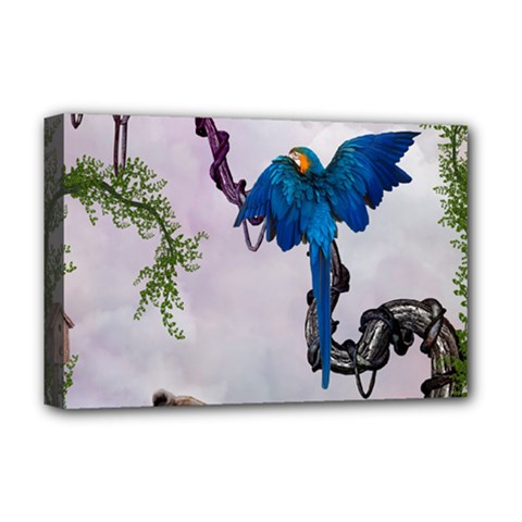 Wonderful Blue Parrot In A Fantasy World Deluxe Canvas 18  X 12   by FantasyWorld7