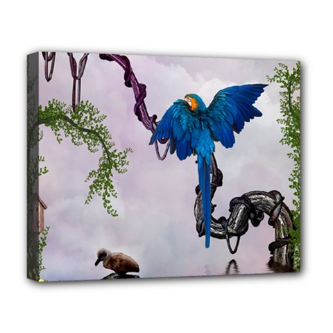 Wonderful Blue Parrot In A Fantasy World Deluxe Canvas 20  X 16   by FantasyWorld7
