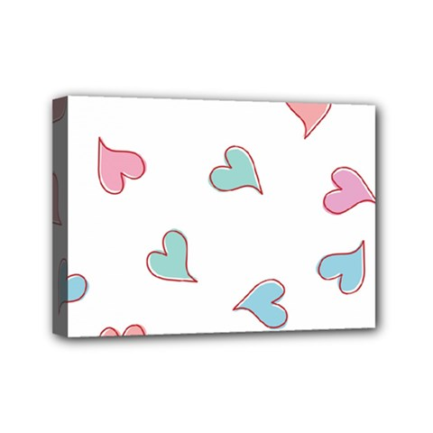 Colorful Random Hearts Mini Canvas 7  X 5  by Nexatart