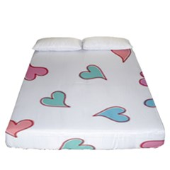 Colorful Random Hearts Fitted Sheet (california King Size)