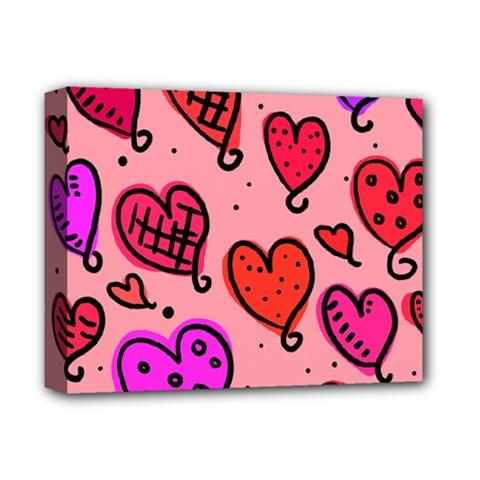 Valentine Wallpaper Whimsical Cartoon Pink Love Heart Wallpaper Design Deluxe Canvas 14  X 11  by Nexatart