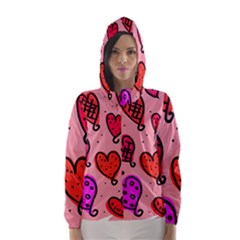 Valentine Wallpaper Whimsical Cartoon Pink Love Heart Wallpaper Design Hooded Wind Breaker (women)