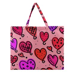 Valentine Wallpaper Whimsical Cartoon Pink Love Heart Wallpaper Design Zipper Large Tote Bag by Nexatart