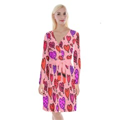 Valentine Wallpaper Whimsical Cartoon Pink Love Heart Wallpaper Design Long Sleeve Velvet Front Wrap Dress