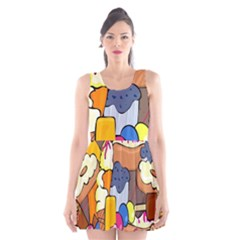 Sweet Stuff Digitally Food Scoop Neck Skater Dress by Nexatart
