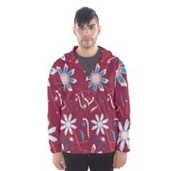 Floral Seamless Pattern Vector Hooded Wind Breaker (men)