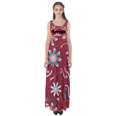 Floral Seamless Pattern Vector Empire Waist Maxi Dress
