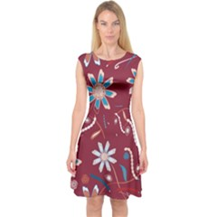Floral Seamless Pattern Vector Capsleeve Midi Dress