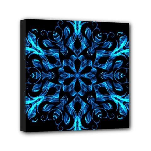 Blue Snowflake Mini Canvas 6  X 6  by Nexatart