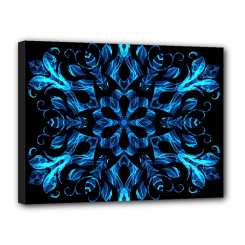 Blue Snowflake Canvas 16  X 12  by Nexatart