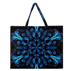 Blue Snowflake Zipper Large Tote Bag by Nexatart