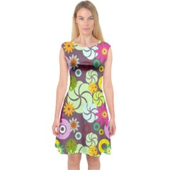 Floral Seamless Pattern Vector Capsleeve Midi Dress by Nexatart