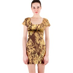 Abstract Brachiate Structure Yellow And Black Dendritic Pattern Short Sleeve Bodycon Dress