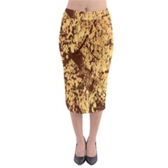 Abstract Brachiate Structure Yellow And Black Dendritic Pattern Midi Pencil Skirt by Nexatart